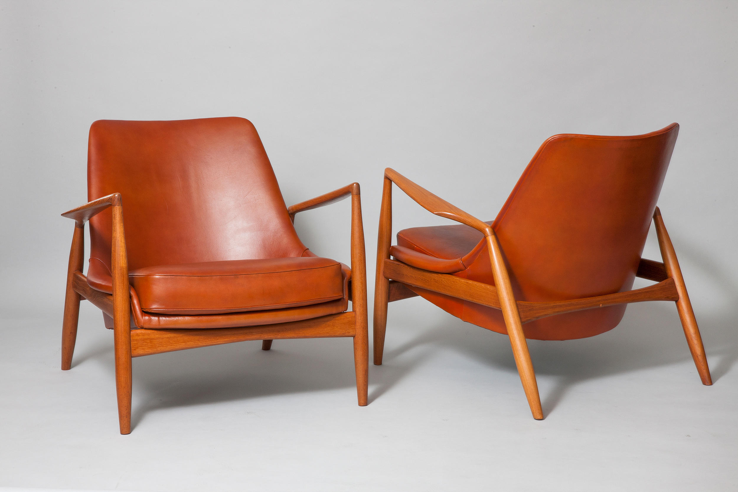 IB Kofod Larsen, pair of chairs, teak and original leather, 1955