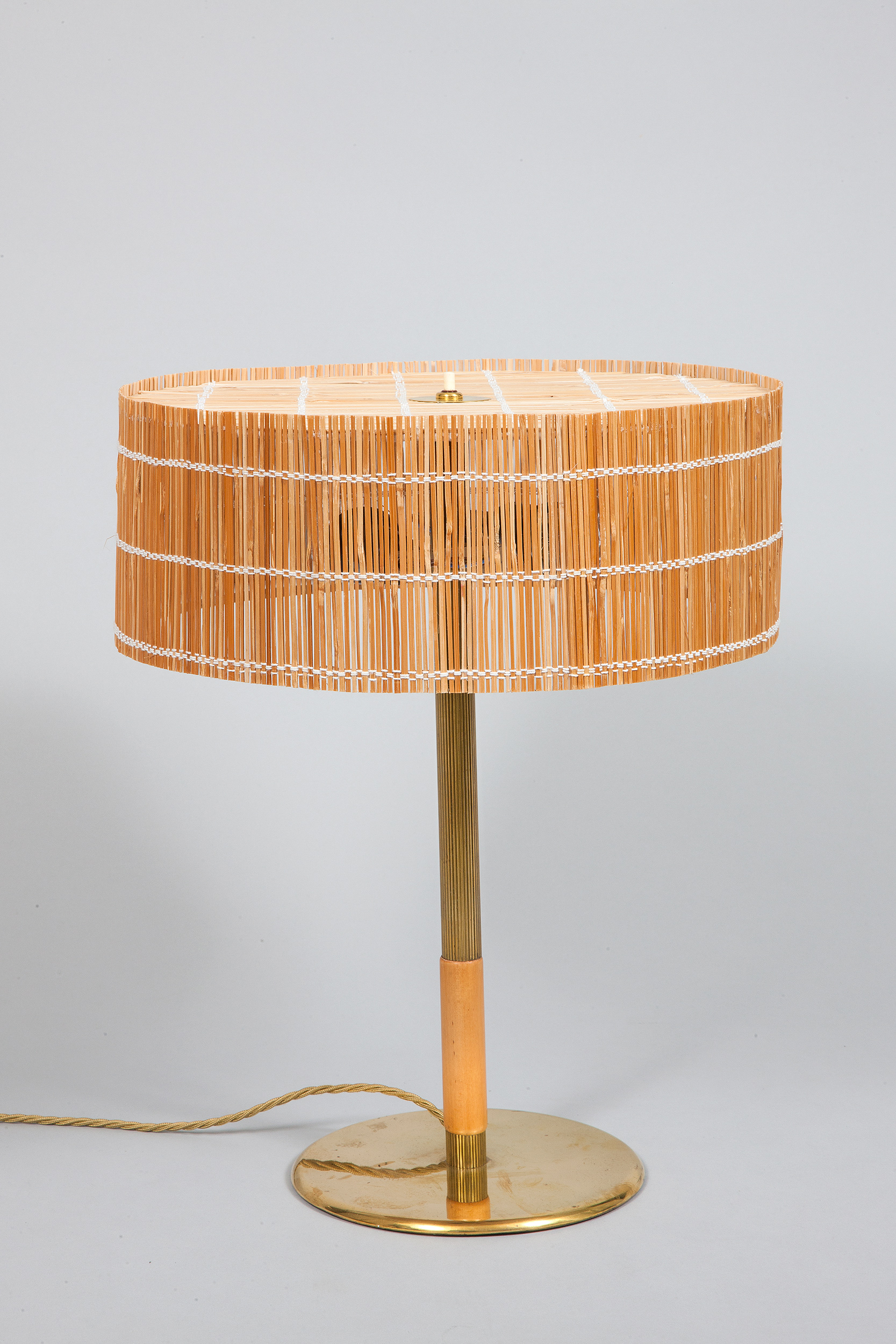 Paavo Tynell table lamp brass wood straw